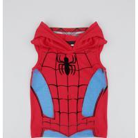 Regata Infantil Carnaval Homem Aranha Com Capuz Vermelha
