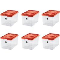 Kit Com 6 Caixas Organizadoras Plus Vermelho 22 L