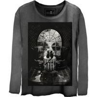 Camiseta Feminina Estonada Gola Canoa Manga Longa Skull House