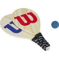 Kit De Frescobol Wilson Com Capa Em Mesh: 2 Raquetes E 1 Bolinha - Azul/Vermelho