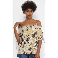 Blusa Lily Fashion Listrada Alcinha Feminina - Feminino-Amarelo