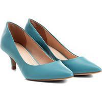 Scarpin Couro Shoestock Salto Baixo - Feminino-Azul Turquesa