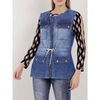 Colete Parka Jeans Feminino - Feminino-Azul