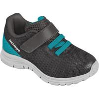 Tênis Texturizado Com Velcro- Cinza Escuro & Azulortopé