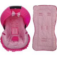 Conjunto Capa De Bebê Conforto E Capa De Carrinho Poá Alan Pierre Baby 0 A 13 Kg Rosa Com Marrom E Pink