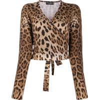 Dolce & Gabbana Suéter Com Transpasse E Estampa De Leopardo - Marrom
