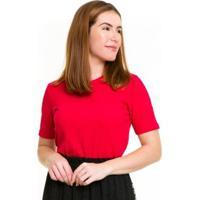 Blusa Malha Canelada Feminina - Feminino-Vermelho