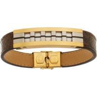 Bracelete De Aço Inox Tudo Joias Gold Com 13Mm De Largura - Unissex-Dourado