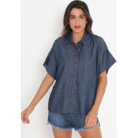 Camisa Jeans Com Recorte- Azul Escuro- Colccicolcci