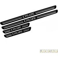 Aplique Da Soleira - Cruze 2011 Até 2016 - Resinado - Autoadesivo - Preto - Jogo