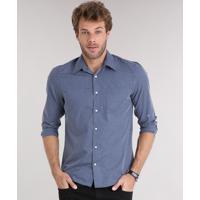 bc4d784d4d ... Camisa Masculina Comfort Xadrez Manga Longa Com Bolso Azul Marinho