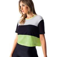 Blusa Cropped Com Tela- Preta Verdevestem