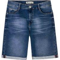 Bermuda Jeans Masculina Em Algodão Com Barra Dobrada