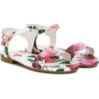 Dolce & Gabbana Kids Sandália Com Rosas Estampadas - Branco