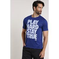 "Camiseta Masculina Esportiva Ace ""Play Hard..."" Manga Curta Gola Careca Azul Marinho"