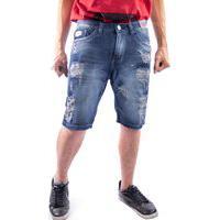 Bermuda Jeans Masculino Short Nstore Destroyed Azul Escuro