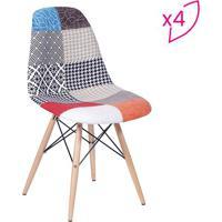 Jogo De Cadeiras Eames Dkr- Preto & Bege- 4Pã§S- Or Design