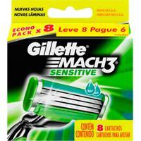 Carga Gillette Mach 3 Sensitive - 8 Unidades - Unissex-Incolor