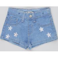 Short Jeans Infantil Com Bordado De Flores Azul Médio