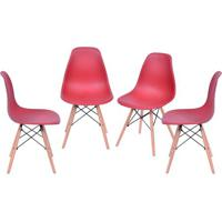 Jogo De Cadeiras Eames Dkr- Telha & Bege- 4Pã§S- Or Design