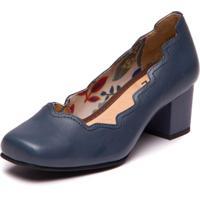 Sapato Feminino Em Couro Rosê / Preto