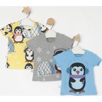 Kit De Blusa Pinguim- Cinza & Azul- 3Pçsmylu