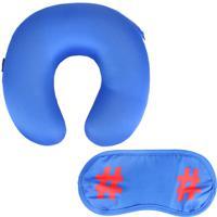 Almofada De Pescoço E Mascara Para Dormir Kit 2 Peças Stradda (Azul Médio, Único)