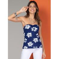Blusa Tomara Que Caia Floral Azul Com Amarração