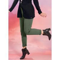 Calça Feminina Em Moletom Com Detalhe Verde