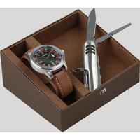 Kit De Relógio Analógico Mondaine Masculino + Canivete - 76605G0Mvnh1Kc Marrom - Único