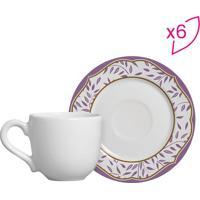 Conjunto De Xícaras De Café Folhas- Branco & Lilás- Scalla Cerâmica