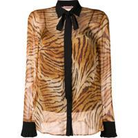 Twin-Set Camisa De Seda Translúcida Estampada - Marrom