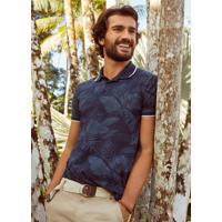 Camisa Azul Marinho Polo Folhagens