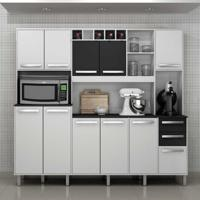 Cozinha Compacta Petra 11 Pt 2 Gv Branco E Preto Brilho