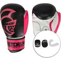 Kit De Boxe Pretorian: Bandagem + Protetor Bucal + Luvas De Boxe Start - 10 Oz - Adulto - Preto/Rosa
