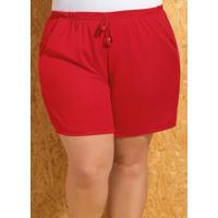 Short Com Amarração Vermelho Plus Size