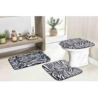 Jogo De Tapete Para Banheiro Safari Standard 3 Peças Zebra