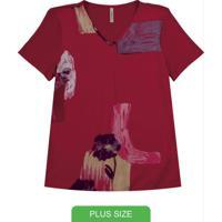 Blusa Com Decote V E Estampa Vermelho