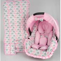 Conjunto Capa Para Bebê Conforto Com Acolchoado Extra E Capa De Carrinho - Alan Pierre Baby - Passinho Do Elefantinho Rosa