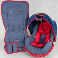 Conjunto Capa Para Bebê Conforto Com Acolchoado Extra E Capa De Carrinho Poá Alan Pierre Baby 0 A 13 Kg Marinho Com Vermelho