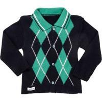 Casaco Infantil Para Bebê Menino - Azul Marinho/Verde