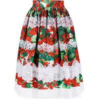 Dolce & Gabbana Saia Com Renda Floral - Vermelho