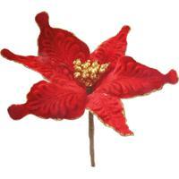 Flor Artificial Decoração Natal Poinsetia Vermelha