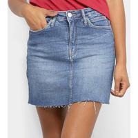 Saia Jeans Calvin Klein Six Pckts Logo Bordado - Feminino-Marinho