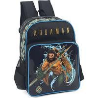 Mochila Escolar Aquaman 38X28X13 Cm Preto Luxcel