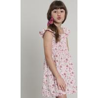 Vestido Infantil Estampado Floral Com Babado Sem Manga Rosa Claro