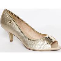 Peep Toe Em Couro Metalizado- Dourado- Salto: 6,5Cmcarmen Steffens
