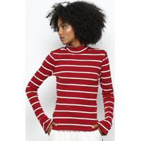 Blusa Listrada Canelada Gola Alta- Vermelha & Brancahering