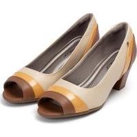 Peep Toe Piccadilly Confoto Tricolor Com Recortes - Feminino