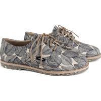 Sapato Oxford Feminino Vegano Estampado Tropical Conforto Branco